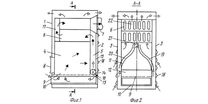 Устройство отопительной печи теплоконвектора