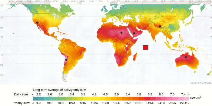 Карта солнечного ресурса, исходя из глобального горизонтального облучения (GHI)