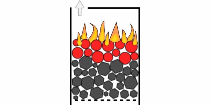 Верхнее подовое горение твердого топлива в котлах и печах