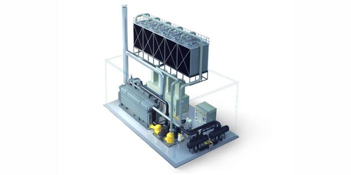 Комбинированная тригенерационная установка для производства тепла, холода и электроэнергии. Industry Plaza