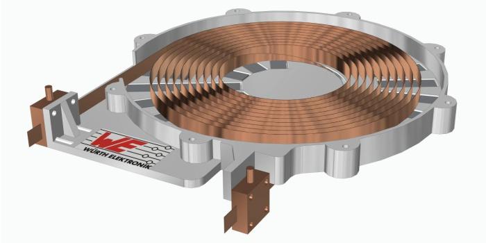 Катушка со сверхпроводящими проводами, способная передавать энергию бесконтактным способом, порядка пяти киловатт (кВт) и без значительных потерь мощности. Предоставлено: Christoph Utschick / Wuerth Elektronik eiSos