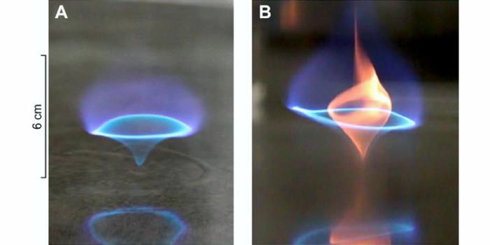 Структура синего вихревого пламени, сжигающего топливо без остатка