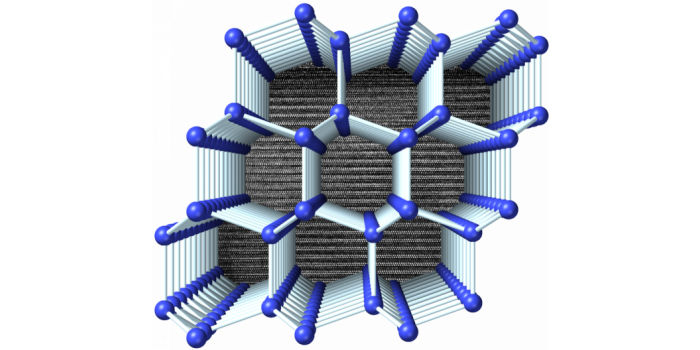 Визуализация структуры 4H-Si, расположенной перпендикулярно гексагональной оси. На заднем плане отображена микрофотография, полученная с помощью просвечивающего электронного микроскопа, которая показывает последовательность укладки слоев. Предоставлено: Thomas Shiell и Timothy Strobel
